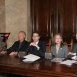 con Mario Boselli, Santo Versace e Ottavio Missoni -conferenza stampa quaderni moda
