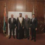 con il Console Generale degli Emirati Arabi Uniti a Milano, H.E. Abdallah Al Shamsi, Mauro Del Vecchio e Gabriele Albertini,  in occasione dell'evento di celebrazione del 46° National Day degli EAU