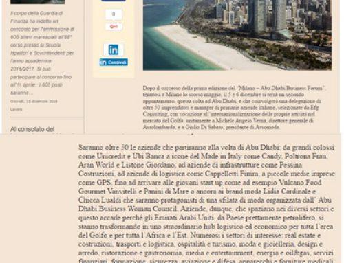 Dai trasporti alla moda: 50 azienda italiane ad Abu Dhabi per il Buisness Forum