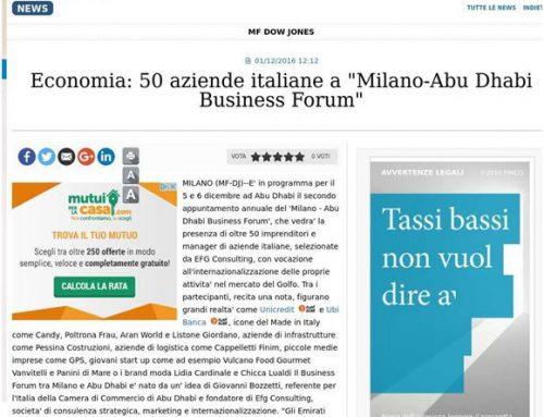 "Economia: 50 azienda italiane a ""Milano-Abu Dhabi Buisness Forum"""