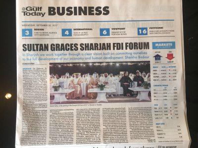 20.09.17 - The Gulf Today Business - Sharjah FDI Forum 2017
