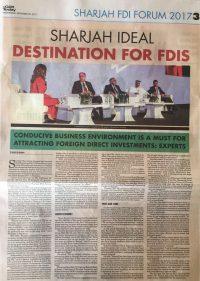 20.09.17 - The Gulf Today - Sharjah FDI Forum 2017