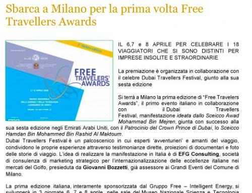 Sbarca a Milano per la prima volta Free Travellers Awards