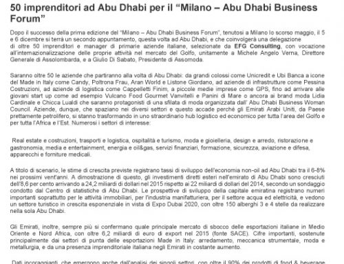 "50 imprenditori ad Abu Dhabi per il ""Milano – Abu Dhabi Business Forum"""