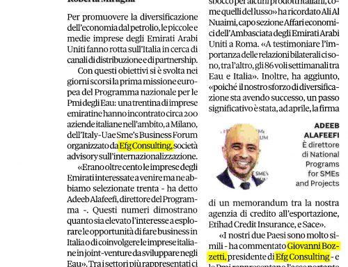 Gli Emirati puntano sulle Pmi e cercano partnership in Italia