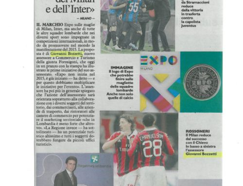 Logo Expo sulle maglie del Milan e Inter
