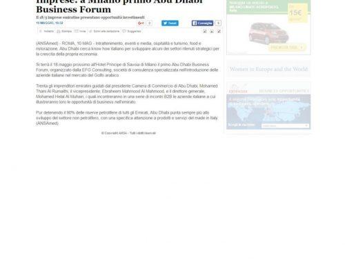 Imprese: a Milano primo Abu Dhabi Business Forum