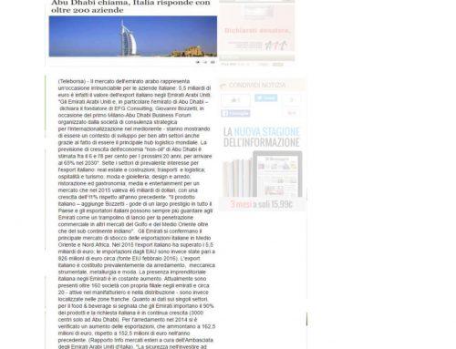 Abu Dhabi chiama, Italia risponde con oltre 200 aziende