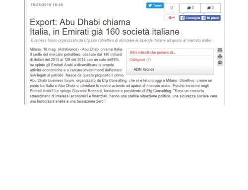 Export: Abu Dhabi chiama Italia