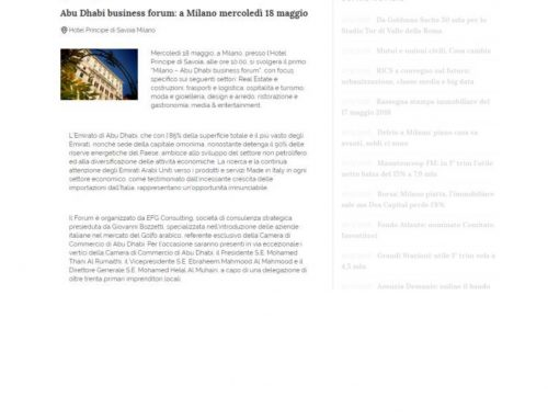 Abu Dhabi business forum: a Milano mercoledì 18 maggio