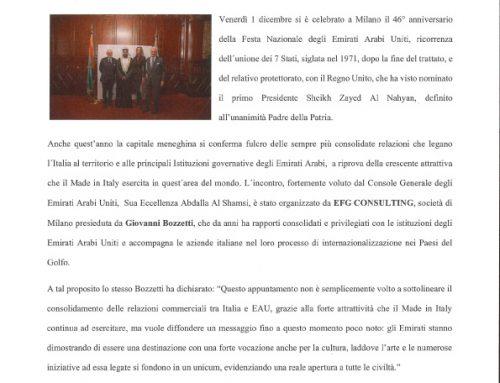 Celebrato a Milano il 46° National Day degli Emirati Arabi Uniti alla presenza del Console Generale Abdalla Al Shamsi